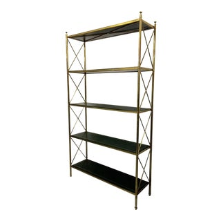Brass and Tooled Leather Etagere by Maison Bagues For Sale