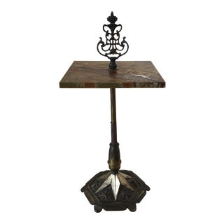Art Deco Cast Iron & Slate Side Table