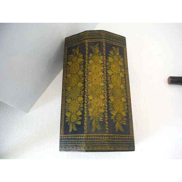 Gold Antique Ebonized Hand-Painted Mexican Wedding Trunk For Sale - Image 8 of 9