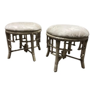Early 20th Century Vintage White Bamboo Foot Stools- a Pair For Sale