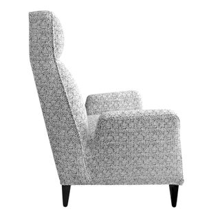Custom Torino High Back Chair in Black and White Bouclé Preview