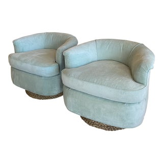 Vintage Milo Baughman Style Barrel Upholstered Seafoam Green Seagrass Base Swivel Chairs -A Pair For Sale
