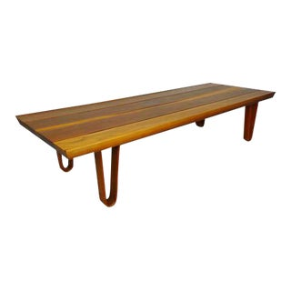 Edward Wormley Dunbar Mid Century Modern Cherry Wood Winged Plank Coffee Table For Sale