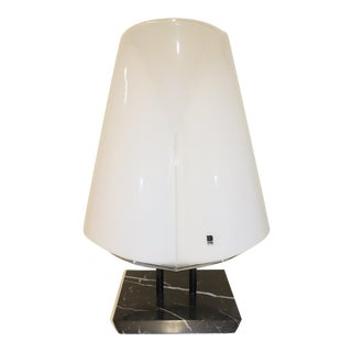 White Mid-Century Modern Murano Glass Table Lamp For Sale