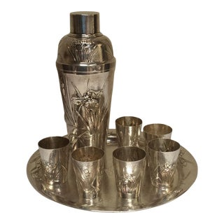 Japanese Silver Cocktail Shaker & Glasses - Set of 8 For Sale