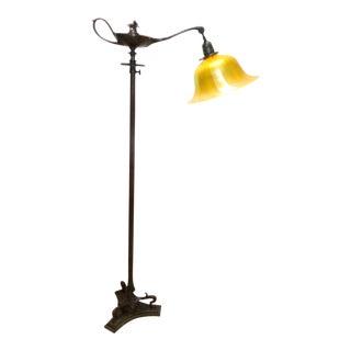 Tiffany Studios Aladdin Floor Lamp & Gold Aurene Bell Shade