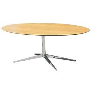 Florence Knoll Oak and Re-Chromed Steel Base Dining/Conference Table For Sale