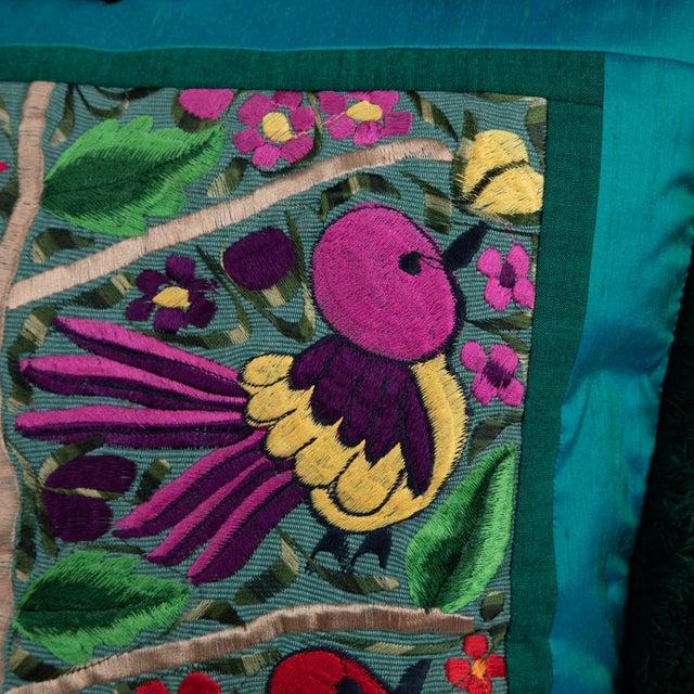 Full Circle Modern Original Modern Embroidered Bird & Flower Pillow For Sale - Image 4 of 5