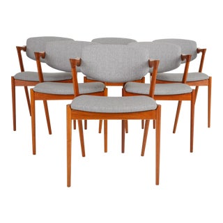 Set of Six Model 42 Teak Dining Chairs by Kai Kristiansen for Schou Andersen For Sale