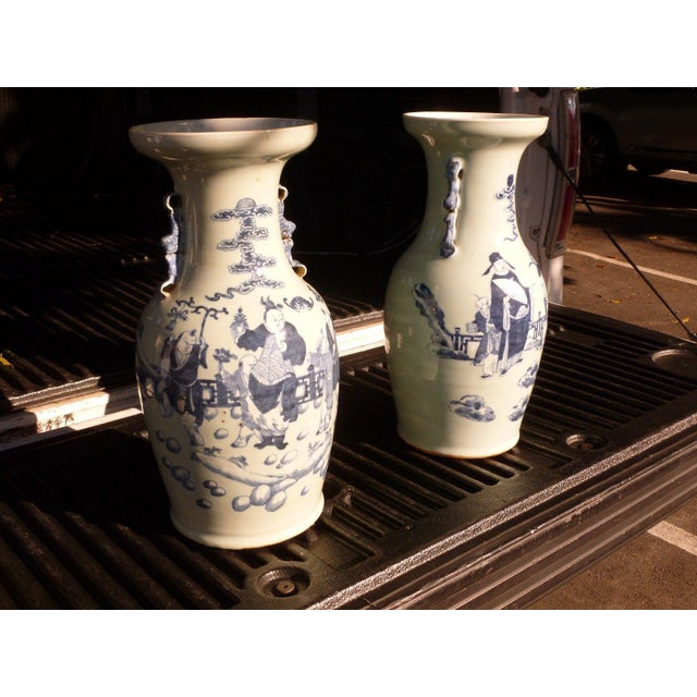 19th Century Qing Chinese Blue & White on Celadon Ground Vases - a Pair For Sale In Miami - Image 6 of 13