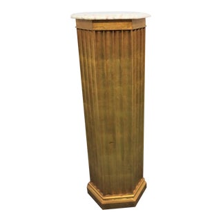 Italian Style Gold Gilt Column Pedestal For Sale