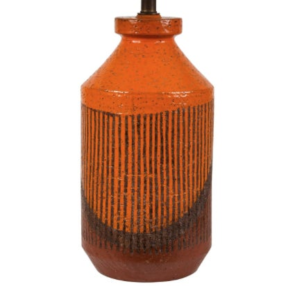 Bitossi Hand-Glazed Orange Studio Lamp For Sale