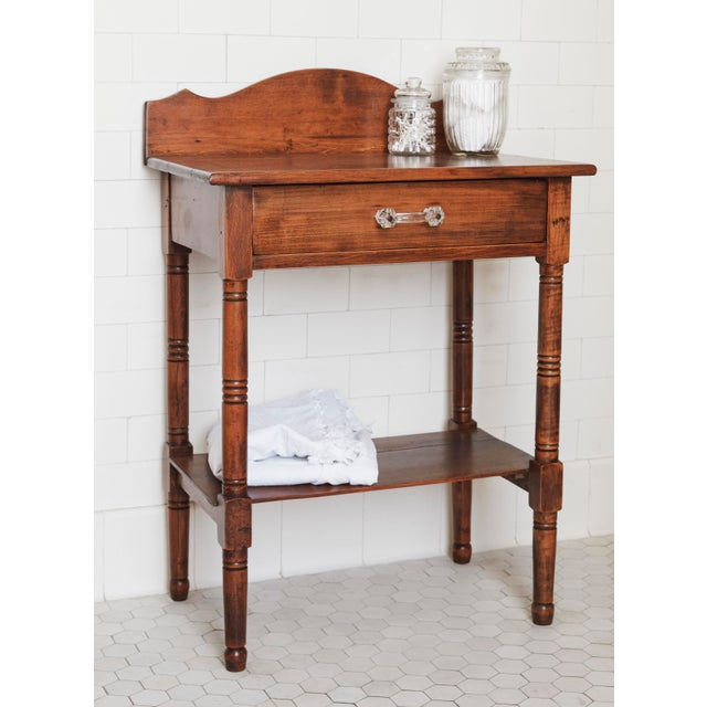 Traditional 19th Century Traditional Fruitwood Wash Table With Lined Drawer For Sale - Image 3 of 8