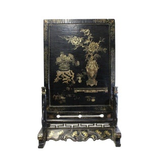 Chinese Golden Black Base Scenery Graphic Wood Display Plaque For Sale