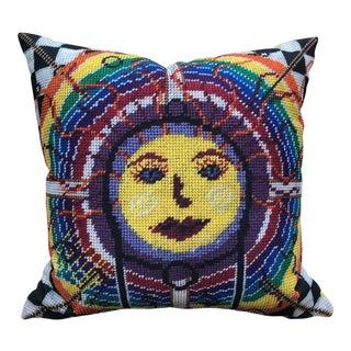 """1970s Influenced Original Zuni Rainbow Sun Outdoor-Indoor 20"""" Custom Pillow For Sale"""