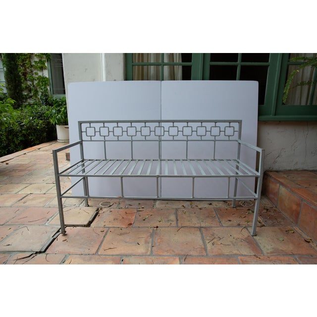 Pair of Midcentury Long French Iron Indoor Outdoor Banquettes or Benches French Wrought Iron Settee, circa 1940s 1950s...