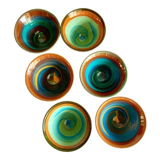 Swirled Vintage Pottery Dipping Bowls, Set of Six For Sale