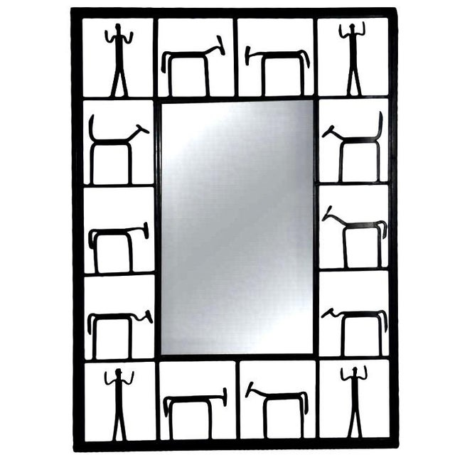 Black MCM Frederick Weinberg Iron Wall Mirror 1950s For Sale - Image 8 of 8