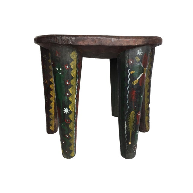 """African African Lg Nupe Stool Nigeria 16.75"""" H by 20.5"""" W For Sale - Image 3 of 13"""