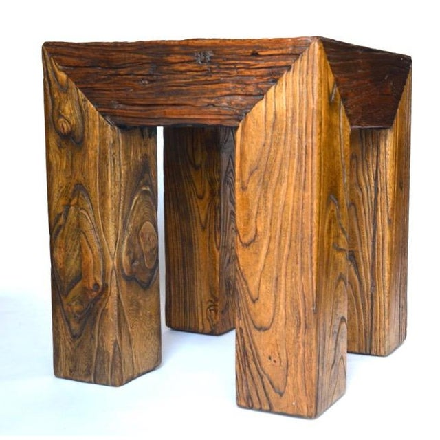Ron Mann Sand-Blasted Wood Side Table 1980s For Sale - Image 9 of 9