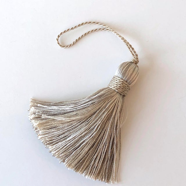 Light Gray Petite Natural Color Tassels - a Pair For Sale - Image 8 of 10