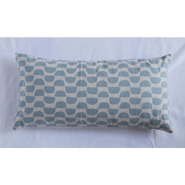 Blue Half Moon Patterned Blue Lumbar Pillow For Sale - Image 8 of 8