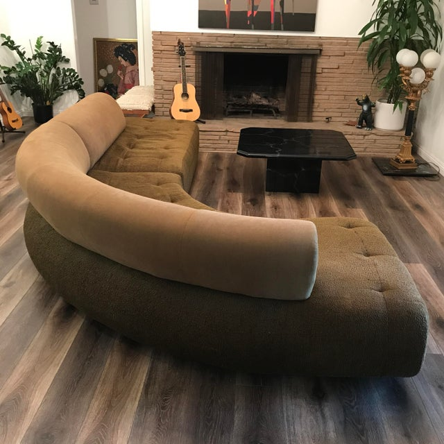 Brown 1990s Sculptural Post Modern Curved Italian Sectional For Sale - Image 8 of 11