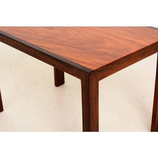 1980s Mid Century Danish Modern Solid Rosewood & Mahogany Side Table For Sale - Image 5 of 6