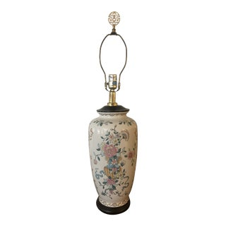 Vintage 1970s Asian Ming Style Enameled Porcelain Lamp For Sale