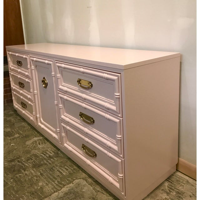 Pink Lacquered Faux Bamboo Credenza For Sale - Image 4 of 8