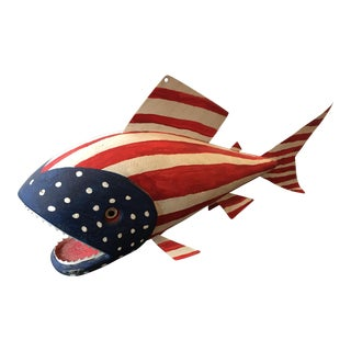 Vintage American Flag Fishing Decoy For Sale
