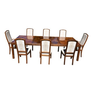 Vintage Henredon Campaign Scene One Dining Set - 9 Pieces For Sale