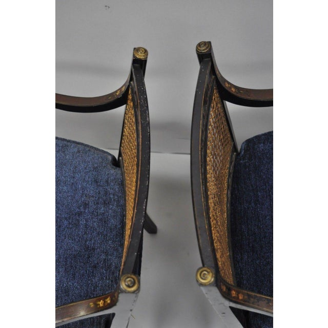 Blue Early 21st Century Antique English Regency Style Black Lacquer Cane Armchairs- A Pair For Sale - Image 8 of 12