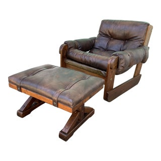 1970s Percival Lafer Style Tufted Leather Lounge Chair + Ottoman - a Pair For Sale