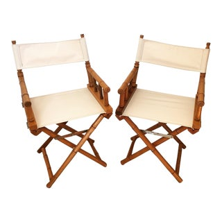 Mid-Century Modern Bamboo Director's Chairs - A Pair