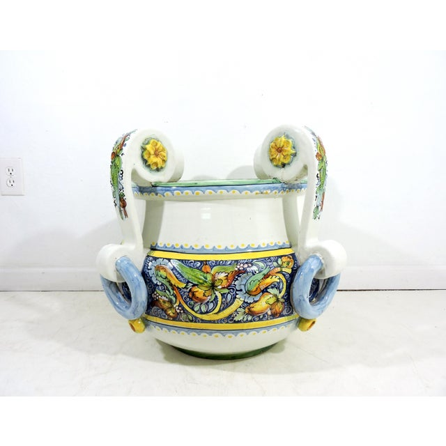Large Italian Caltagirone Ceramic Jardiniere or Planter For Sale In Tampa - Image 6 of 10