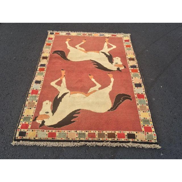 Vintage Persian Qashghi Horse Design Rug 3 4 215 5 2