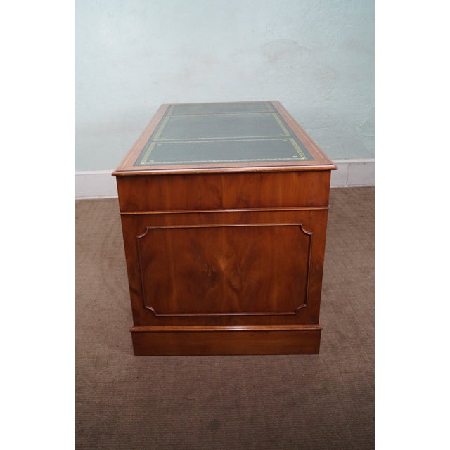 English Yew Wood Leather Top Executive Desk For Sale In Philadelphia - Image 6 of 10