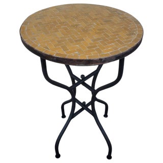 Moroccan Honey Mustard Mosaic Side Table For Sale