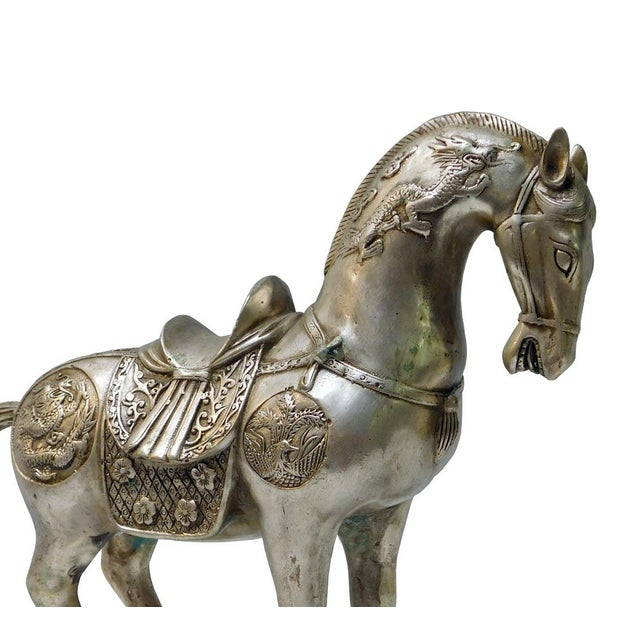 Detail Handmade Metal Silver Color Chinese Ancient Warrior Horse Figure - Image 5 of 6