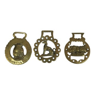 Antique English Brass Pony Buckles - Set of 3