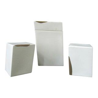 Modern Geometric Gabrielle Hain Austria Salt & Pepper Plus Shaker Box W/Lid Set - 3 Pieces For Sale