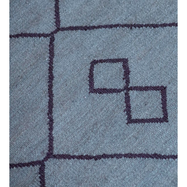 Moroccan Contemporary Blue Handwoven Wool Moroccan Inspired Flatweave Rug For Sale - Image 3 of 10
