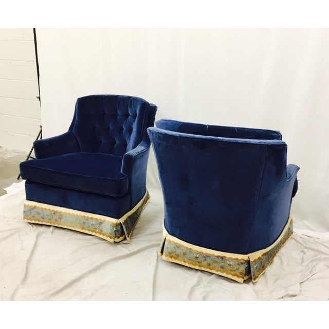 Navy Blue Velvet Club Chairs - a Pair - Image 8 of 8