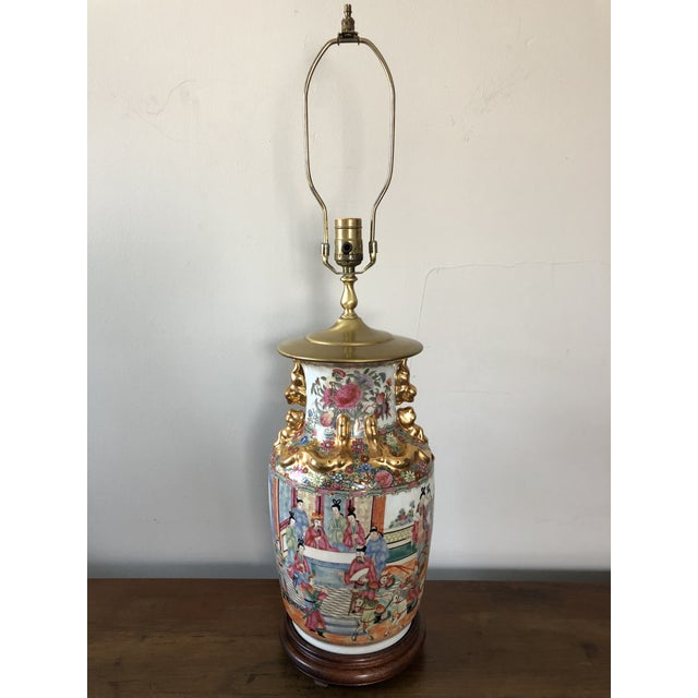 Brass Antique Chinese Rose Medallion Table Lamp For Sale - Image 7 of 7