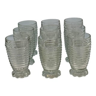 Vintage Anchor Hocking Manhattan Bubble Foot Glasses- Set of 9 For Sale