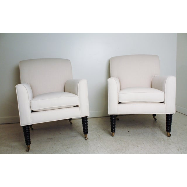 Ralph Lauren White Club Chairs - A Pair - Image 2 of 5