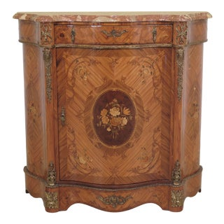 1980s Italian Marble Top Inlaid Commode With Bronze Trim For Sale