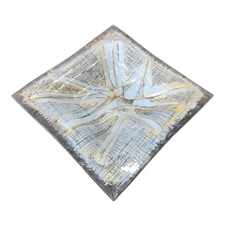 1960s Studio Piece Higgins Glass Square Dish, Signed For Sale