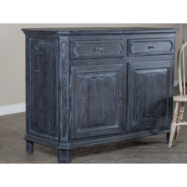 Antique French Régence Style Black Limed Oak Buffet circa 1770 - Image 9 of 11